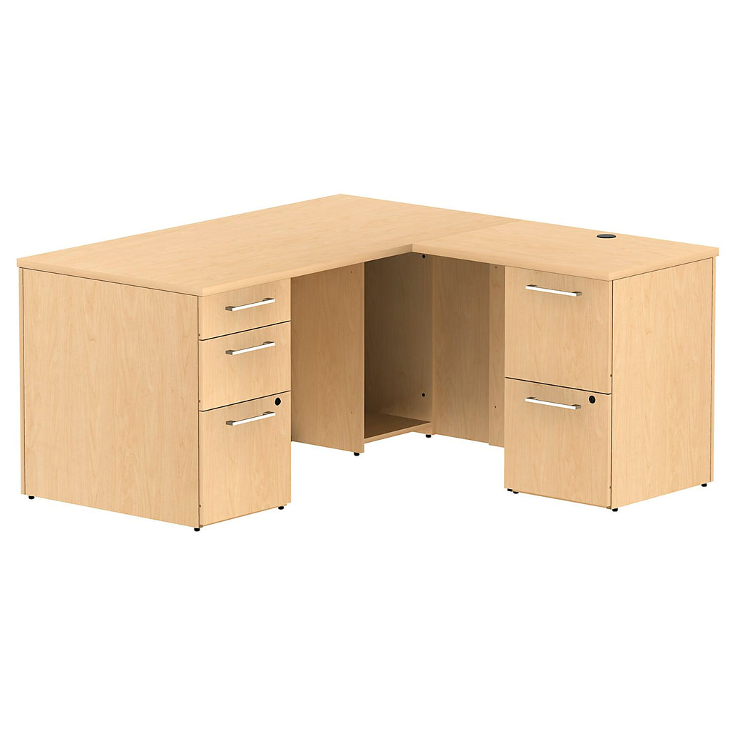 Bush Business Furniture 300 Series 60W x 30D Single Pedestal Desk in L-Configuration with 2 Drawer Pedestal in Natural Maple ; UPC: 042976525927 ; Image 1