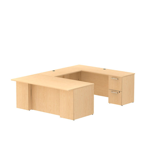 Bush Business Furniture 300 Series 72W x 36D Desk in U-Configuration with 3 Drawer Pedestal and 2 Drawer Pedestal in Natural Maple ; UPC: 042976525989 ; Image 1