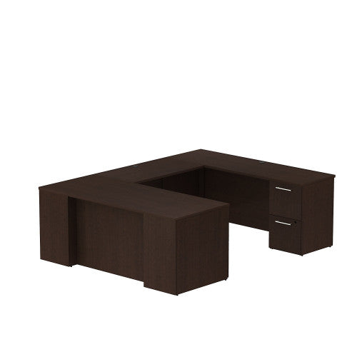 Bush Business Furniture 300 Series 72W x 30D Desk in U-Configuration with 3 Drawer Pedestal and 2 Drawer Pedestal in Mocha Cherry ; UPC: 042976526030 ; Image 1