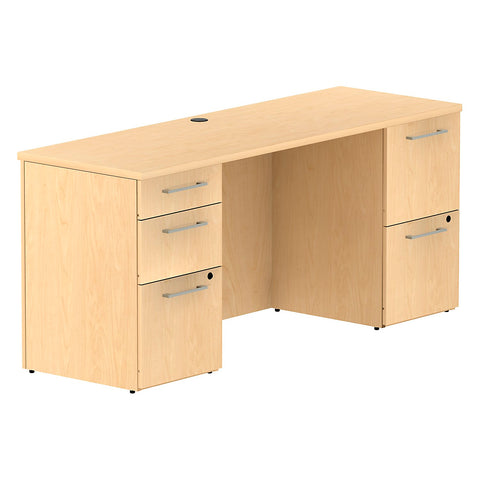 Bush Business Furniture 300 Series 66W x 22D Double Pedestal Desk in Natural Maple ; UPC: 042976526146 ; Image 1