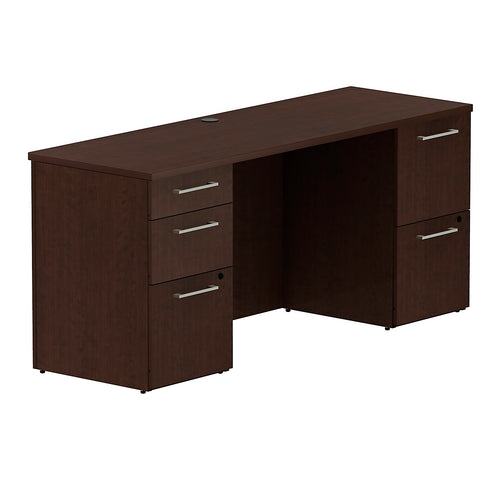 Bush Business Furniture 300 Series 66W x 22D Double Pedestal Desk in Mocha Cherry ; UPC: 042976526177 ; Image 1