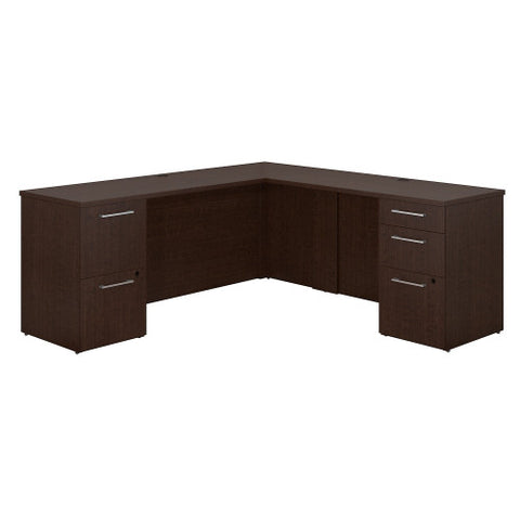 Bush 300 Series 72W X 22D Desk with 48W Return w Pedestals 300S036MR ; UPC: 042976526252 ; Image 1