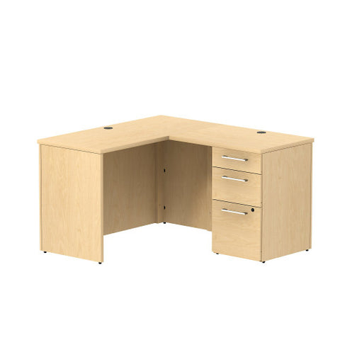 Bush Business Furniture 300 Series 48W x 22D Shell Desk in L-Configuration with 3 Drawer Pedestal in Natural Maple ; UPC: 042976526368 ; Image 1