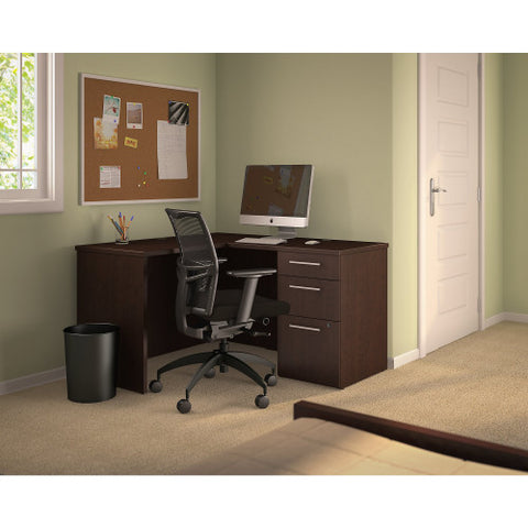 Bush Business Furniture 300 Series 48W x 22D Shell Desk in L-Configuration with 3 Drawer Pedestal in Mocha Cherry ; UPC: 042976526382 ; Image 2