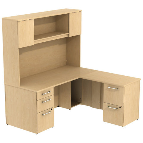 Bush_Bush Realize Series L-Desk with 2 Drawer, 3 Drawer Pedestal and Hutch_Quick Ship / Natural Maple	 - 1 ; Image 1