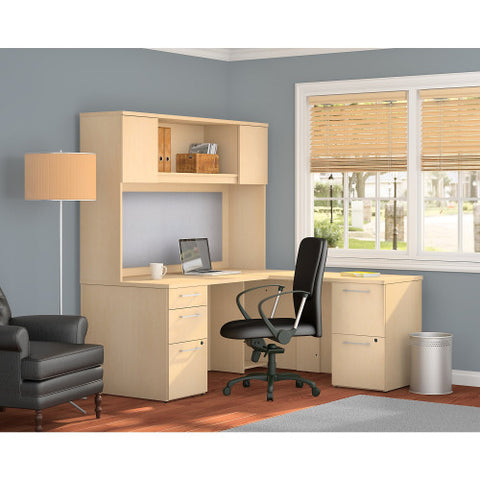 Bush_Bush Realize Series L-Desk with 2 Drawer, 3 Drawer Pedestal and Hutch_Quick Ship / Natural Maple	 - 1 ; Image 2