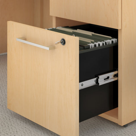 Bush_Bush Realize Series L-Desk with 2 Drawer, 3 Drawer Pedestal and Hutch_Quick Ship / Natural Maple	 - 1 ; Image 3