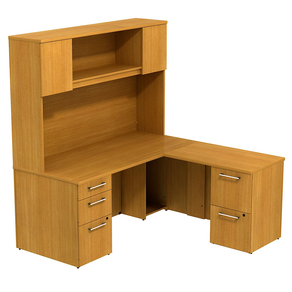 Bush Business Furniture 300 Series 66W x 30D Desk in L-Configuration with 3 Drawer Pedestal , 66W Wall Mount hutch Storage with Doors and 2 Drawer Pedestal in Modern Cherry ; UPC: 042976526405 ; Image 1
