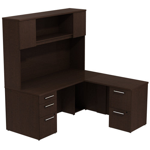 Bush Business Furniture 300 Series 66W x 30D Desk in L-Configuration with 3 Drawer Pedestal , 66W Wall Mount hutch Storage with Doors and 2 Drawer Pedestal in Mocha Cherry ; UPC: 042976526412 ; Image 1