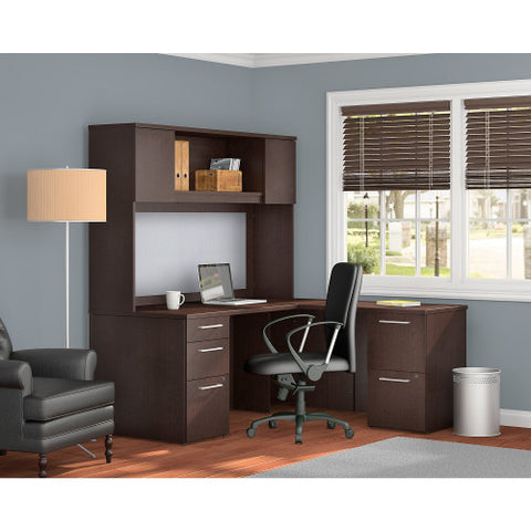 Bush Business Furniture 300 Series 66W x 30D Desk in L-Configuration with 3 Drawer Pedestal , 66W Wall Mount hutch Storage with Doors and 2 Drawer Pedestal in Mocha Cherry ; UPC: 042976526412 ; Image 2