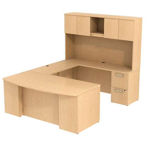 Bush_Bush Realize Series Bow Front U Station Desk with Hutch_Quick Ship / Natural Maple	 - 1 ; Image 1