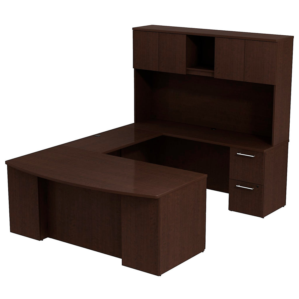 Bush Business Furniture 300 Series 72W x 36D Bow Front Desk in U-Configuration with 3 Drawer Pedestal , 2 Drawer Pedestal and 72W Hutch Storage with Doors in Mocha Cherry ; UPC: 042976526443 ; Image 1