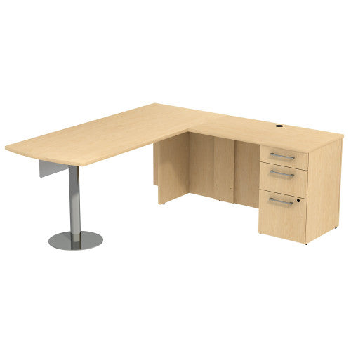 Bush Business Furniture 300 Series 72W x 30D Peninsula Desk in L-Configuration with 60W Glass Modesty Panel and 3 Drawer Pedestal in Natural Maple ; UPC: 042976526481 ; Image 1