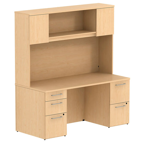 Bush Business Furniture 300 Series 66W x 30D Double Pedestal Desk with 66H Hutch Storage with Doors in Natural Maple ; UPC: 042976526511 ; Image 1