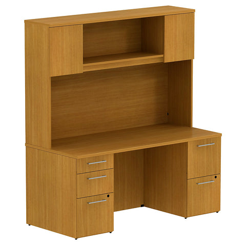 Bush Business Furniture 300 Series 66W x 30D Double Pedestal Desk with 66H Hutch Storage with Doors in Modern Cherry ; UPC: 042976526528 ; Image 1