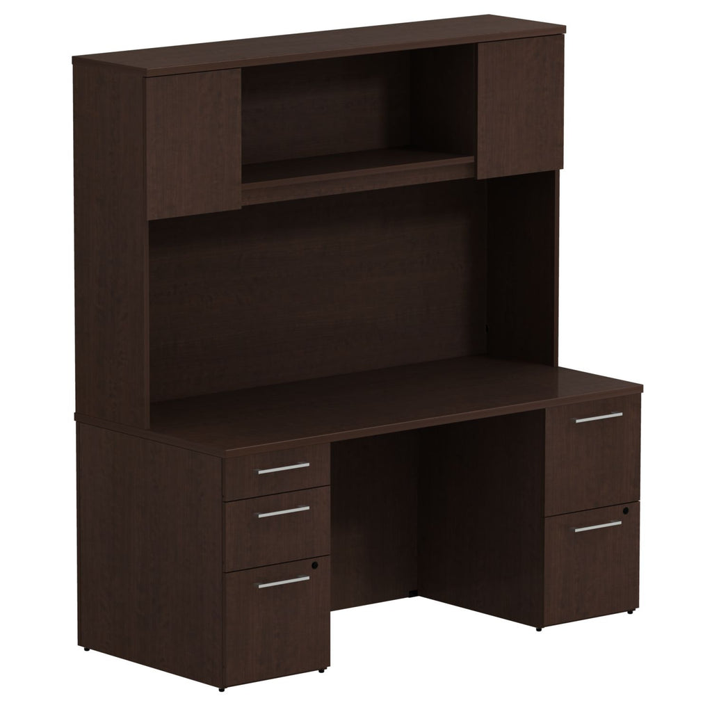 Bush Business Furniture 300 Series 66W x 30D Double Pedestal Desk with 66H Hutch Storage with Doors in Mocha Cherry ; UPC: 042976526535 ; Image 1