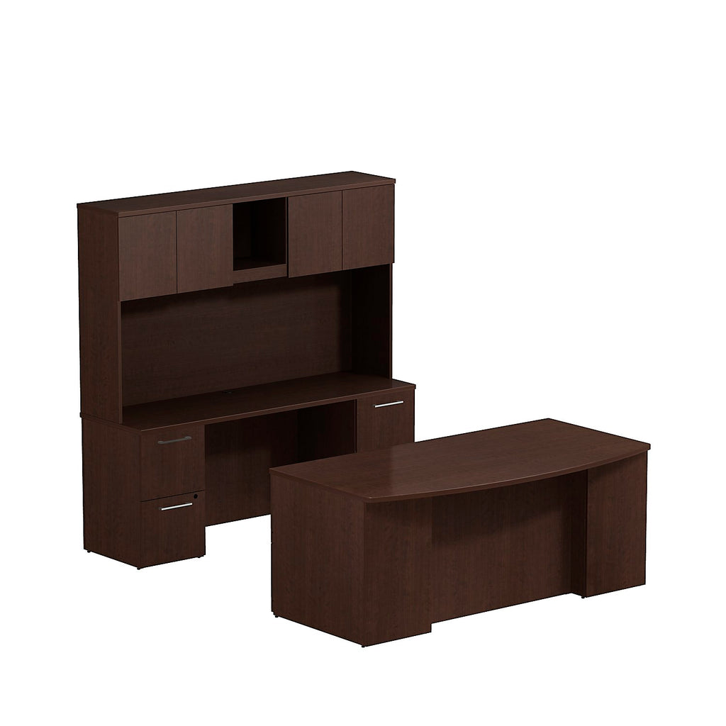 Bush Business Furniture 300 Series 72W x 36D Bow Front Double Pedestal Desk with 72W Credenza and 72W Hutch Storage with Doors in Mocha Cherry ; UPC: 042976526566 ; Image 1
