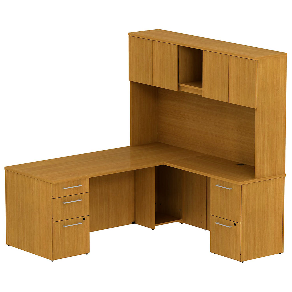 Bush Business Furniture 300 Series 72W x 30D Single Pedestal Desk in L-Configuration with 2 Drawer Pedestal and 72W Hutch Storage with Doors in Modern Cherry ; UPC: 042976526702 ; Image 1