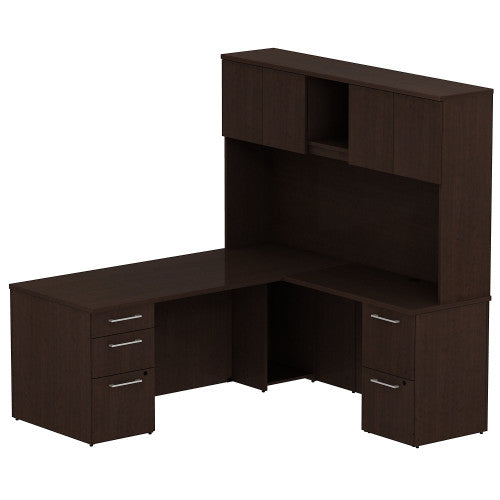 Bush Business Furniture 300 Series 72W x 30D Single Pedestal Desk in L-Configuration with 2 Drawer Pedestal and 72W Hutch Storage with Doors in Mocha Cherry ; UPC: 042976526719 ; Image 1