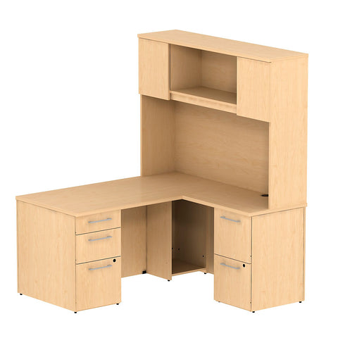 Bush Business Furniture 300 Series 60W x 30D Single Pedestal Desk in L-Configuration with 2 Drawer Pedestal and 60W Hutch Storage with Doors in Natural Maple ; UPC: 042976526726 ; Image 1