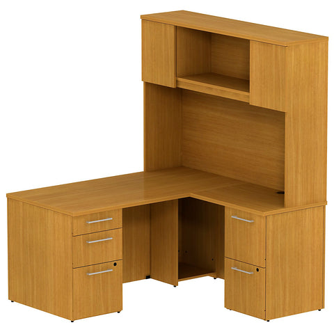 Bush Business Furniture 300 Series 60W x 30D Single Pedestal Desk in L-Configuration with 2 Drawer Pedestal and 60W Hutch Storage with Doors in Modern Cherry ; UPC: 042976526733 ; Image 1