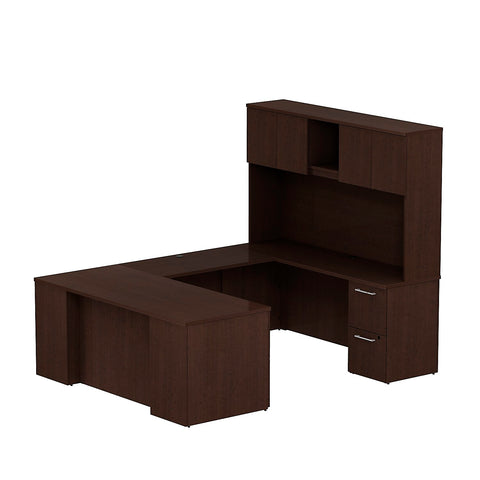 Bush Business Furniture 300 Series 72W x 30D Desk in U-Configuration with 3 Drawer Pedestal , 2 Drawer Pedestal and 72W Hutch Storage with Doors in Mocha Cherry ; UPC: 042976526801 ; Image 1