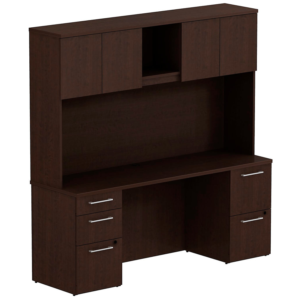 Bush Business Furniture 300 Series 72W x 22D Double Pedestal Desk with 72W Hutch Storage with Doors in Mocha Cherry ; UPC: 042976526894 ; Image 1