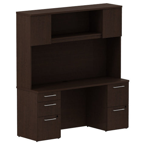 Bush Business Furniture 300 Series 66W x 22D Double Pedestal Desk with 66W Hutch Storage with Doors in Mocha Cherry ; UPC: 042976526924 ; Image 1