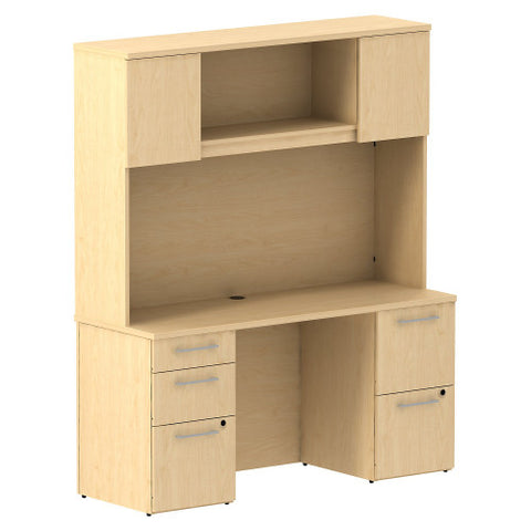 Bush Business Furniture 300 Series 60W x 22D Double Pedestal Desk with 60W Hutch Storage with Doors in Natural Maple ; UPC: 042976526931 ; Image 1