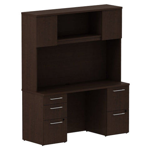 Bush Business Furniture 300 Series 60W x 22D Double Pedestal Desk with 60W Hutch Storage with Doors in Mocha Cherry ; UPC: 042976526955 ; Image 1