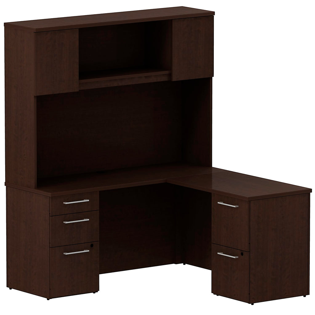 Bush Business Furniture 300 Series 60W x 22D Single Pedestal Desk in L-Configuration with 3 Drawer Pedestal and 60W Hutch Storage with Doors in Mocha Cherry ; UPC: 042976527044 ; Image 1