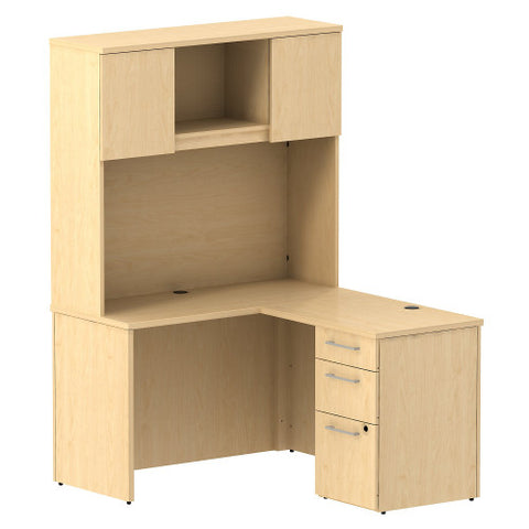 Bush Business Furniture 300 Series 48W x 22D Shell Desk in L-Configuration with 3 Drawer Pedestal and 48W Hutch Storage with Doors in Natural Maple ; UPC: 042976527051 ; Image 1