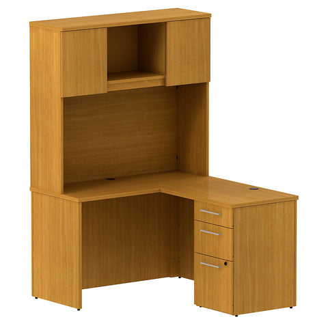Bush Business Furniture 300 Series 48W x 22D Shell Desk in L-Configuration with 3 Drawer Pedestal and 48W Hutch Storage with Doors in Modern Cherry ; UPC: 042976527068 ; Image 1
