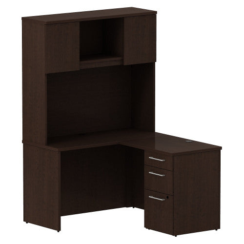Bush Business Furniture 300 Series 48W x 22D Shell Desk in L-Configuration with 3 Drawer Pedestal and 48W Hutch Storage with Doors in Mocha Cherry ; UPC: 042976527075 ; Image 1