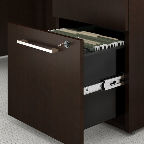 Bush Business Furniture 300 Series 48W x 22D Shell Desk in L-Configuration with 3 Drawer Pedestal and 48W Hutch Storage with Doors in Mocha Cherry ; UPC: 042976527075 ; Image 3