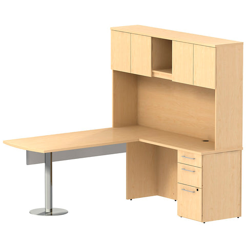 Bush_Bush Realize Series Peninsula L-Desk with Glass Panel, Hutch, and 3 Drawer Pedestal_Quick Ship / Natural Maple	 - 1 ; Image 1