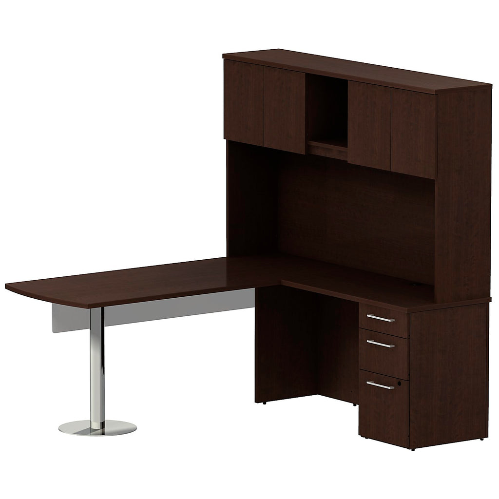 Bush Business Furniture 300 Series 72W x 30D Peninsula Desk in L-Configuration with 60W Glass Modesty Panel, 3 Drawer Pedestal and 72W Hutch Storage with Doors in Mocha Cherry ; UPC: 042976527136 ; Image 1