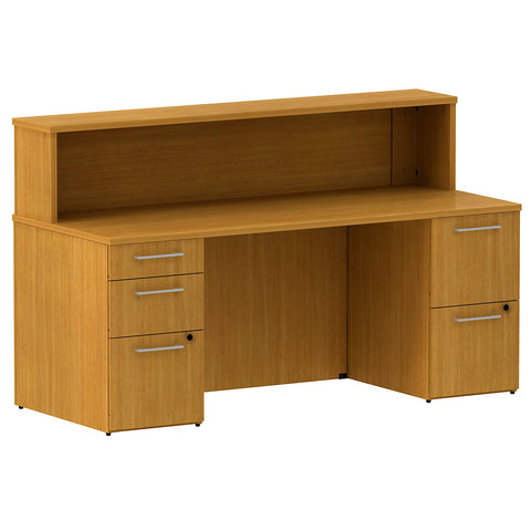 Bush Business Furniture 300 Series 72W x 30D Reception Double Pedestal Desk ( B/B/F, F/F) in Modern Cherry ; UPC: 042976527365 ; Image 1