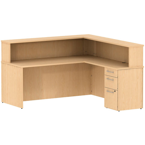 Bush Business Furniture 300 Series 72W x 72D Reception Desk in L-Configuration with 3 Drawer Pedestal in Natural Maple ; UPC: 042976527389 ; Image 1