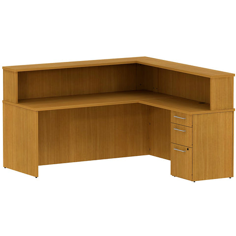 Bush Business Furniture 300 Series 72W x 72D Reception Desk in L-Configuration with 3 Drawer Pedestal in Modern Cherry ; UPC: 042976527396 ; Image 1