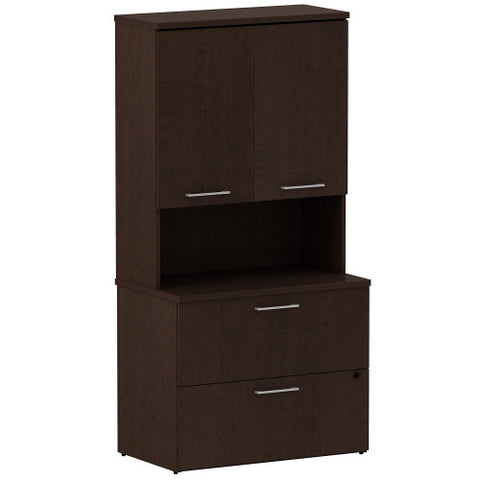 Bush Business Furniture 300 Series 36W 2 Drawer Lateral File with36W Hutch Storage with Doors in Mocha Cherry ; UPC: 042976527464 ; Image 1