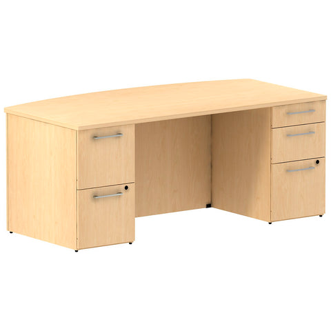 72W x 36D Bow Front Double Pedestal Desk Kit in Natural Maple ; UPC: 042976527969 ; Image 1