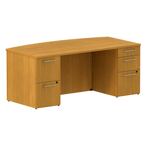 72W x 36D Bow Front Double Pedestal Desk Kit in Modern Cherry ; UPC: 042976527983 ; Image 1
