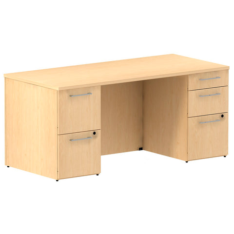 66W x 30D Double Pedestal Desk Kit in Natural Maple ; UPC: 042976528058 ; Image 1