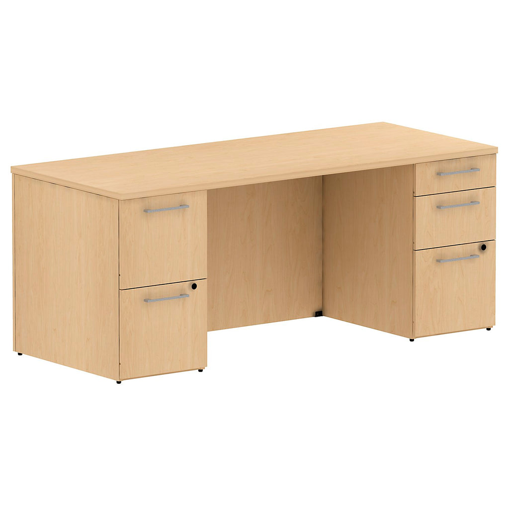 72W x 30D Double Pedestal Desk Kit in Natural Maple ; UPC: 042976528102 ; Image 1