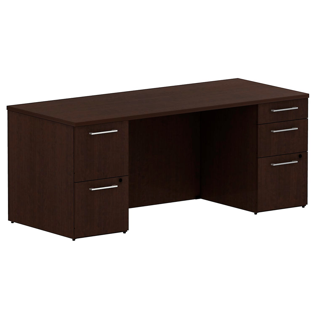 72W x 30D Double Pedestal Desk Kit in Mocha Cherry ; UPC: 042976528126 ; Image 1