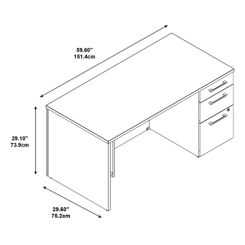 60W x 30D Single Pedestal Desk Kit in Modern Cherry ; UPC: 042976528355 ; Image 2