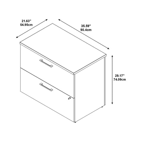 36W 2-Drawer Lateral File Kit in Modern Cherry ; UPC: 042976528515 ; Image 2