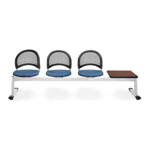 OFM Moon 4-Unit Beam Seating with 3 Seats & 1 Table; UPC:845123009222