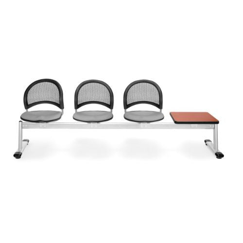 OFM Moon 4-Unit Beam Seating with 3 Seats & 1 Table; UPC:845123009482